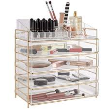 beautify large 5 tier clear acrylic cosmetic makeup storage cube organizer with 4 drawers upper