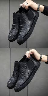 Snake Design Shoes Prelesty Men Chelsea Boots Crocodile Snake Design Vintage