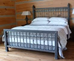 Awesome King Size Metal Bed Frame With Blue Bedding