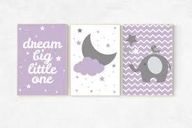 nursery decor girl purple nursery decor elephant lilac lavender nursery purple nursery wall art moon and stars nursery elephant