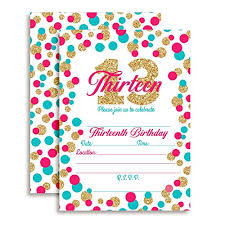 13th Party Invitations Confetti Polka Dot 13th Birthday Party Invitations