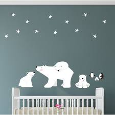 polar bears and penguins wall stickers on penguin wall art for nursery with polar bears and penguin nursery wall art decals