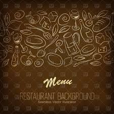 Brown Restaurant Menu With Food And Beverages Stock Vector Image