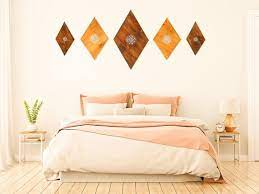 above bed decor bohemian wood art wall