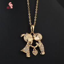 kuniu 18k gold plated crystal azorite love girl boy pendant necklace