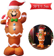 Gingerbread Outdoor Lights Majalis Christmas Blow Up Yard Inflatables Decorations Cute Lights Hanging Lawn Holiday Outdoor Gingerbread Christmas Decoration Airblown Life Size