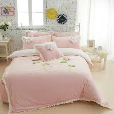 whole thick fleece girls bedding sets king queen twin size bedclothes princess bed skirt duvet cover decorative cushion 4 5 duvet king twin