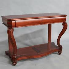 solid mahogany wood 2 drawers louis style hall table