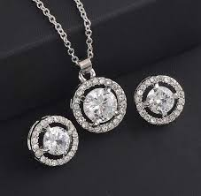 other rhodium plated cubic zirconia pendant chain necklace and stud earring jewelry set