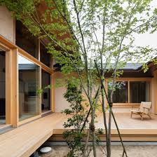 Hiiragi's House is a Japanese home arranged around a courtyard and tree