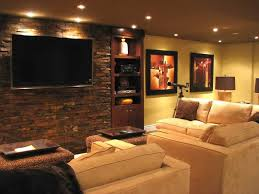 Interior:Ravishing Basement Media Room Design With Cream Fabric Sofa Sets  And Exposed Stone Wall