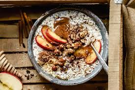 overnight oats with roasted apples