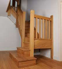 Stair Balusters | Oak staircase with square chunky newels, spindles and  double square .