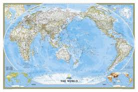 World Map Posters National Geographic World Classic Pacific Centered Map Enlarged Laminated Poster