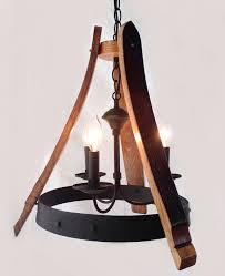 the lovely sancho mini chandelier is made with reclaimed oak wine barrel staveetal hoop