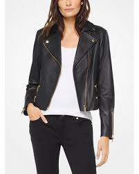Кожаная куртка michael michael kors leather biker jacket black