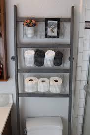 DIY Bathroom Storage Ladder Over the Toilet Peu Luxe