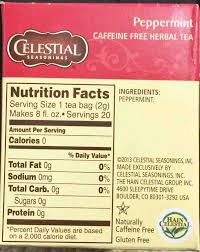 picture of a 20 count 1 1 ounce box of celestial seasonings peppermint herbal tea celestial peppermint tea nutrition