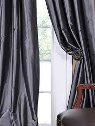 graphite faux solid taffeta silk ds curtain panels modern window treatments half ds
