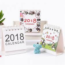 Office Calender 2018 Cartoon Animal Desk Desktop Calendar Flip Stand Table Office Planner Memo
