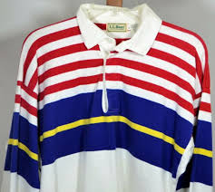 ll bean mens long sleeve large rugby polo shirt purple red yellow stripes usa
