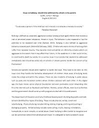 essay on bullying essay on bullying should it be addressed by schools or by parents by ms