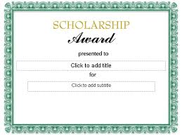 scholarship templates formal scholarship award certificate template sample helloalive