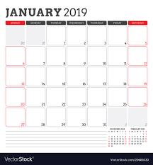 Callendar Planner Calendar Planner For January 2019 Week Starts On