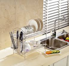 Plate Storage Rack Kitchen Aliexpresscom Buy 2 Tier Chrome Plate Dish Cutlery Cup Drainer