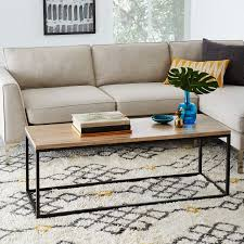 box frame coffee table wood antique bronze west elm