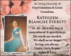 EVERETT, KATHLEEN BLANCHE   Tributes & Condolences   Townsville ...