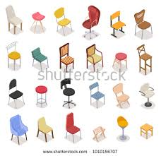 isometric office furniture vector collection. Isometric Chairs Icon Collection. Different Shape For Office Bar House Isolated, Vector Illustration Furniture Collection 6