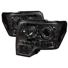 com der auto 5010254 led halo projector headlights chrome smoked automotive