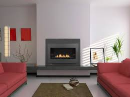 contemporary home interior design ideas using electric gas fireplace insert decoration sweet red fabric sofa