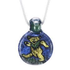 hand blown glass dichroic dancing bear pendant