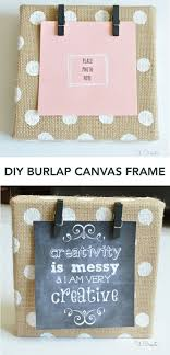 DIY Burlap Canvas Frame - with polkadots