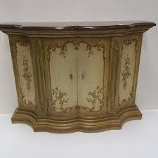 front hall furniture. Floral Painted Shaped Edge Entry Hall Cabinet: Front Furniture