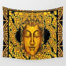 art deco dark gold buddha black