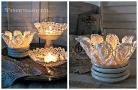 VIEW IN GALLERY Lace Doilies Candle Holders