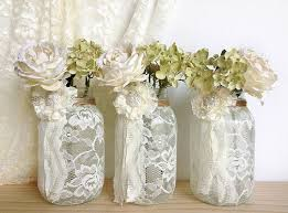 Decorative Jars And Vases 100 Ivory Lace Covered Jar Vases Bridal Shower Decoration 89