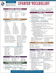 Spanish Vocabulary Reas Quick Access Reference Chart