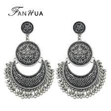 geometric chandelier earrings jewelry chandelier earrings antique gold color silver color big geometric ethnic statement earrings