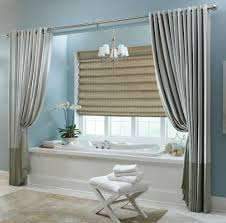 fashionable grey vinyl extra long shower curtain with over blinds windowed also blue wall painted in small blue bathroom ideas