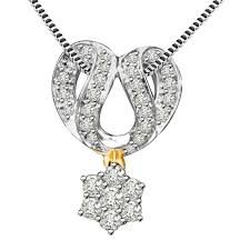 surat diamond dazzling chakra 0 60ct mangalsutra design two tone diamond pendant for your wife p1347