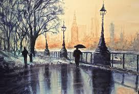blue monday watercolour painting of london by stuartshields