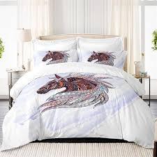 new design cool bedding set horse print duvet cover multi color wild animal print bed set pillowcase bedclothes d35 queen comforter sets nursery bedding
