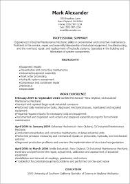 1 Industrial Maintenance Mechanic Resume Templates Try Them Now