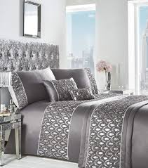 crystal duvet cover and pillowcase set charcoal