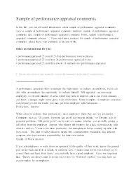 Sample Employee Performance Name How To Write Review Self Assessment