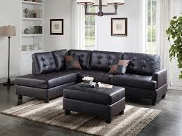 f6855 3 pc martinique ii espresso faux leather sectional sofa reversible chaise and ottoman